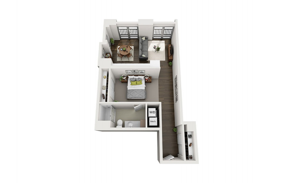 1x1 D - 1 bedroom floorplan layout with 1 bath and 694 square feet.