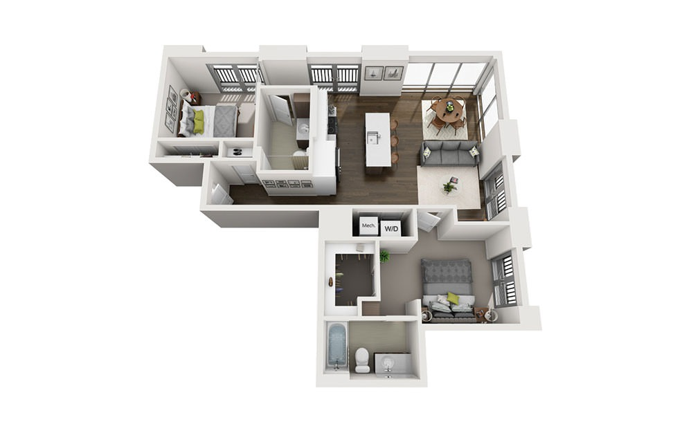 2X2 Penthouse B - 2 bedroom floorplan layout with 2 baths and 1053 square feet.