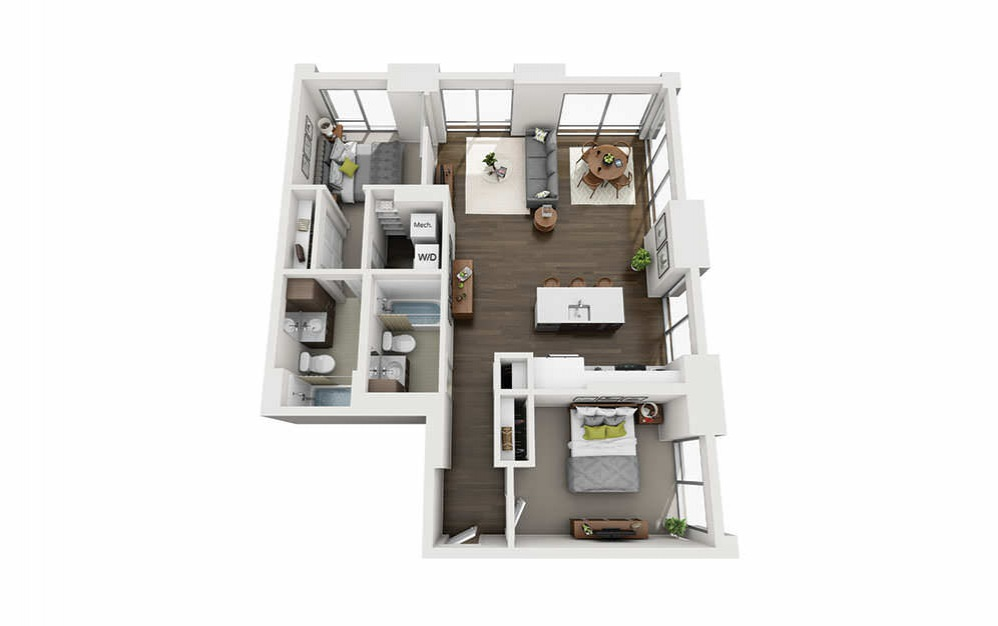 2x2 A - 2 bedroom floorplan layout with 2 baths and 1070 square feet.