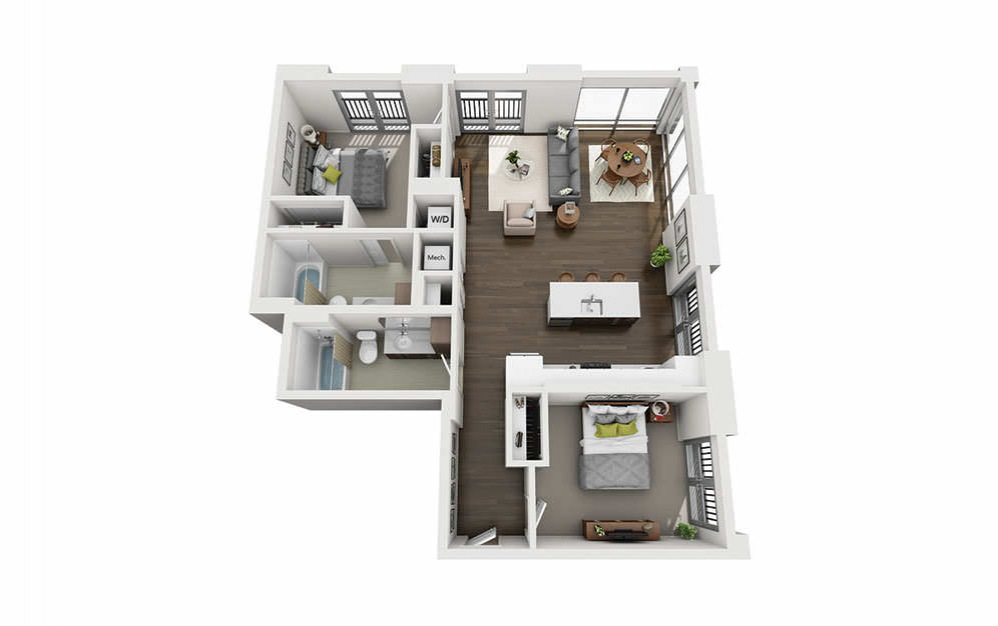 2x2 Penthouse A - 2 bedroom floorplan layout with 2 baths and 1080 square feet.