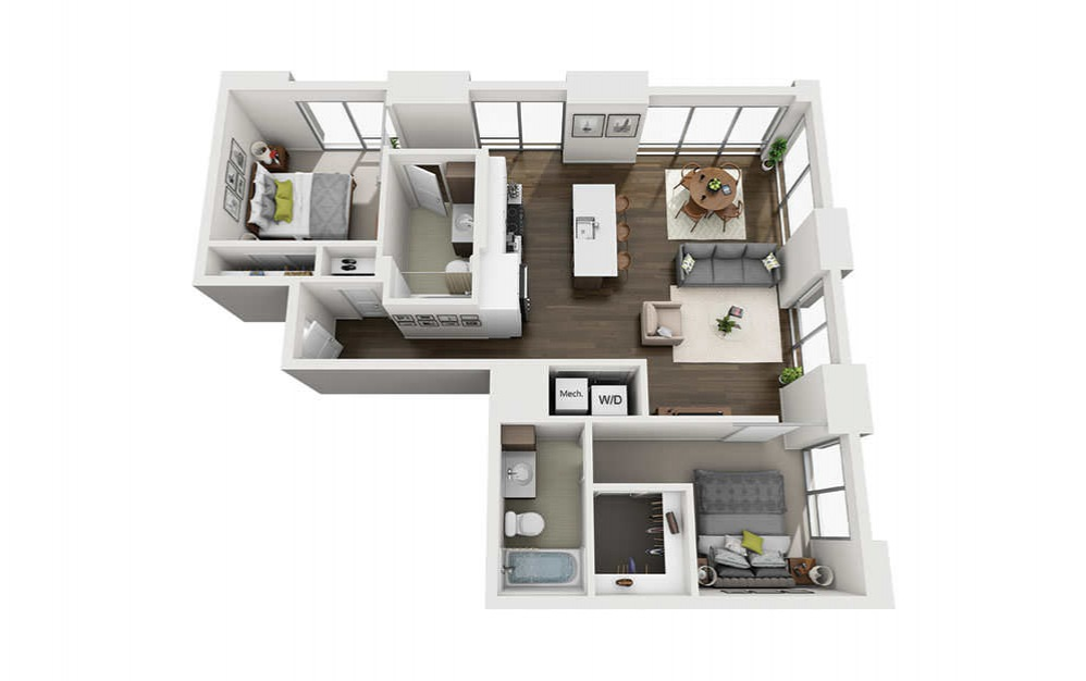 2x2 C - 2 bedroom floorplan layout with 2 baths and 1084 square feet.