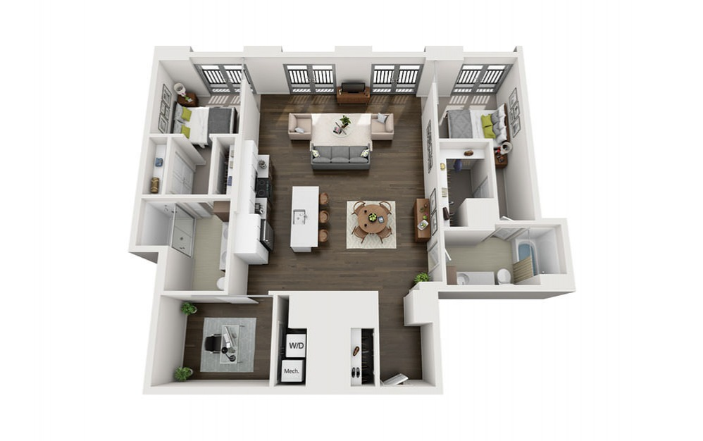2x2+Den Penthouse - 2 bedroom floorplan layout with 2 baths and 1345 square feet.