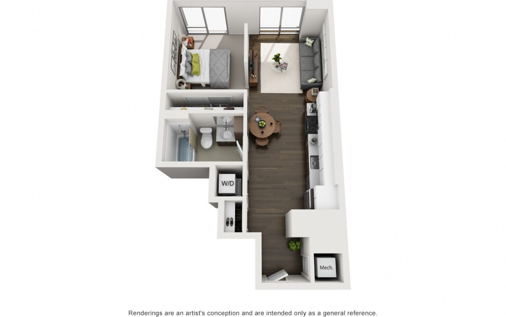 1x1 JR - 1 bedroom floorplan layout with 1 bath and 586 square feet.