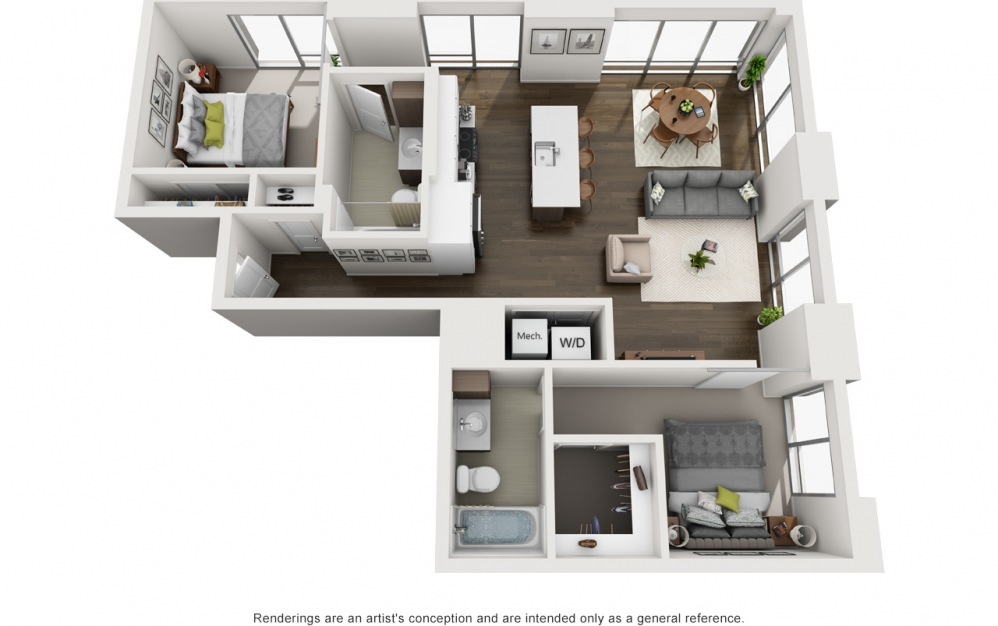 2x2 B - 2 bedroom floorplan layout with 2 baths and 1069 square feet.