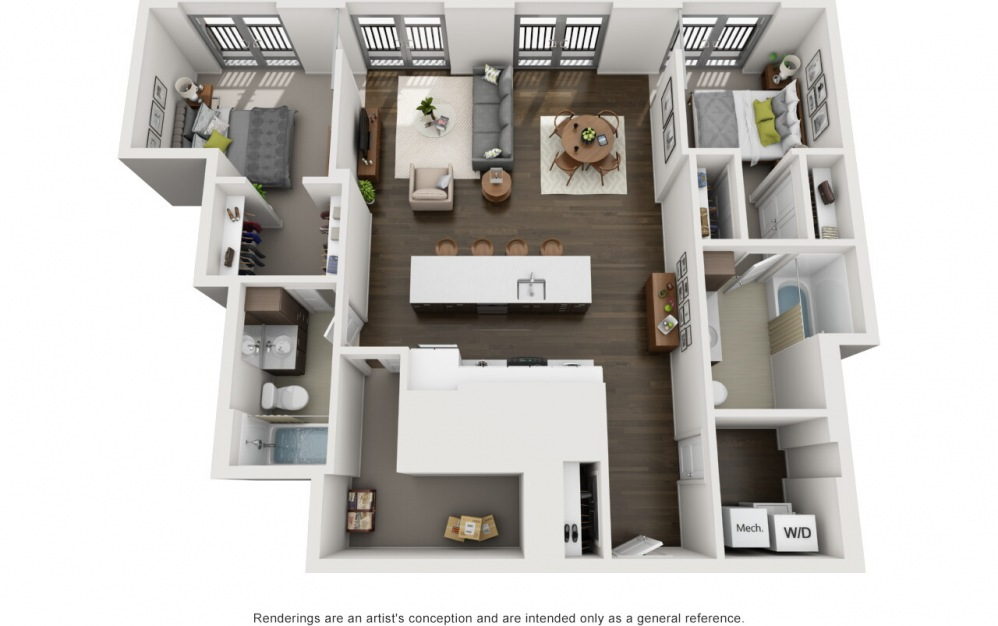 2x2 Penthouse C - 2 bedroom floorplan layout with 2 baths and 1185 square feet.