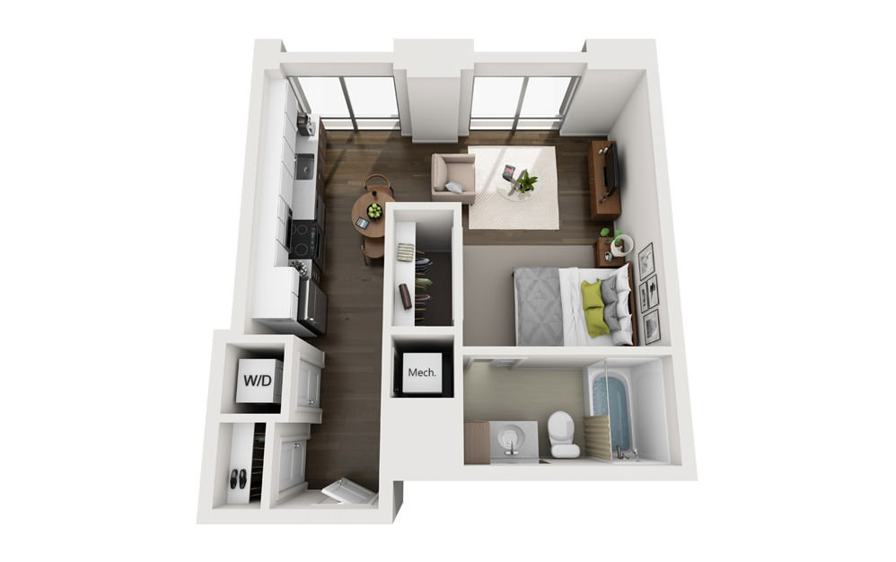 0x1 - Studio floorplan layout with 1 bath and 475 square feet.