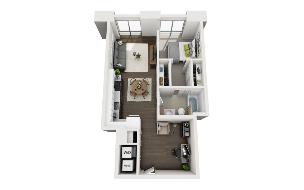 1x1 F - 1 bedroom floorplan layout with 1 bath and 651 square feet.