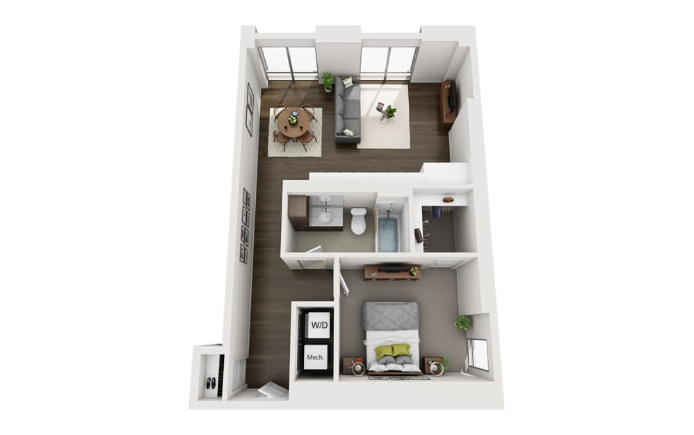 1x1 C - 1 bedroom floorplan layout with 1 bath and 760 square feet.