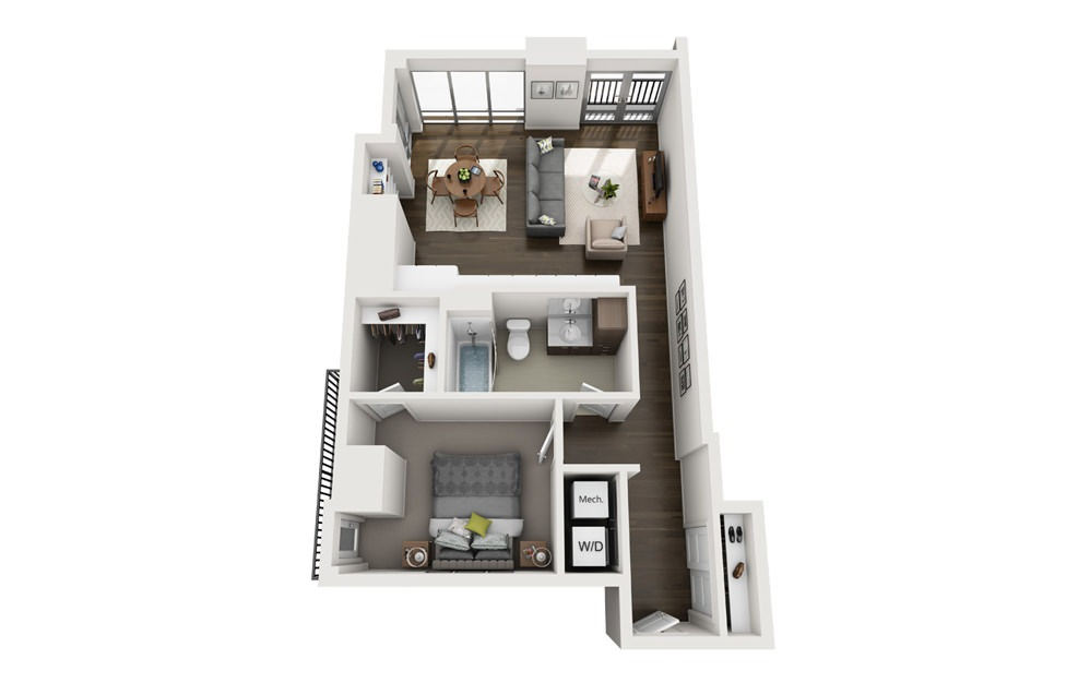 1x1 A - 1 bedroom floorplan layout with 1 bath and 793 square feet.