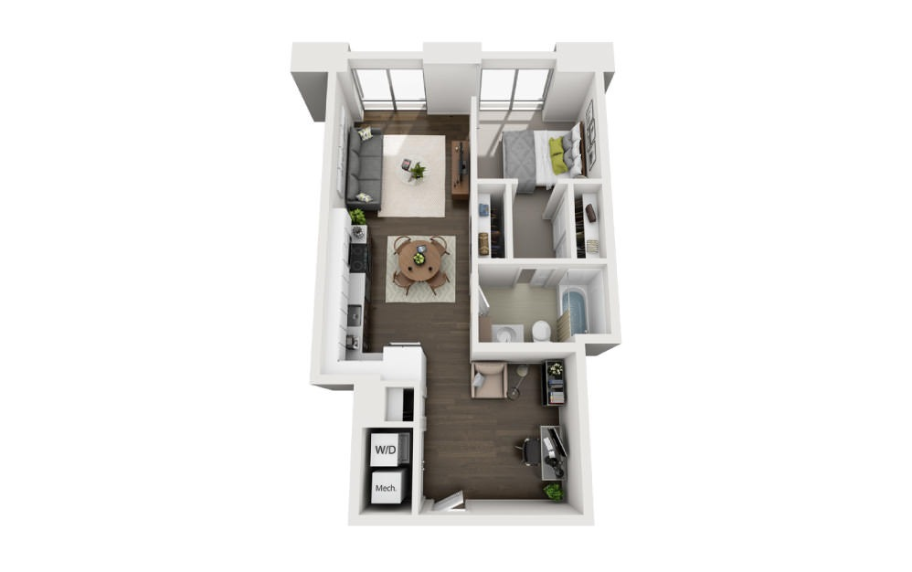 1x1+Den A - 1 bedroom floorplan layout with 1 bath and 748 square feet.