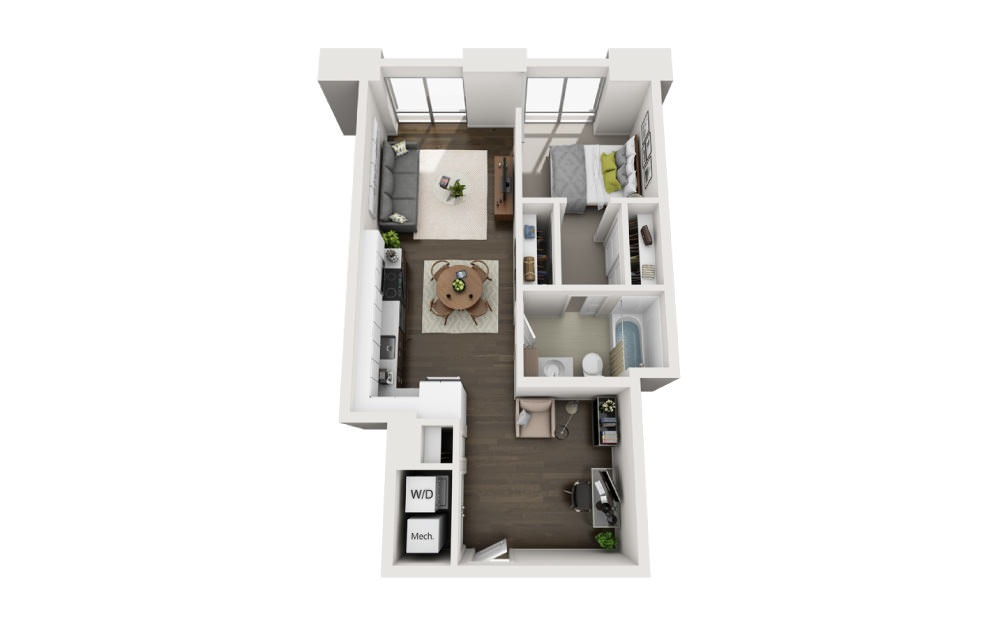 1x1+Den B - 1 bedroom floorplan layout with 1 bath and 661 square feet.