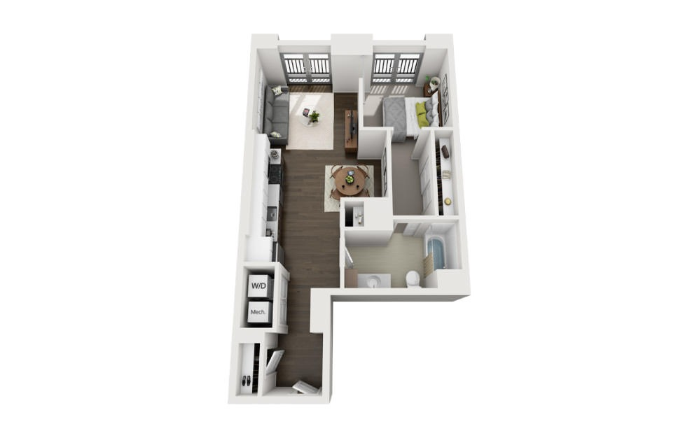 1x1 E - 1 bedroom floorplan layout with 1 bath and 679 square feet.