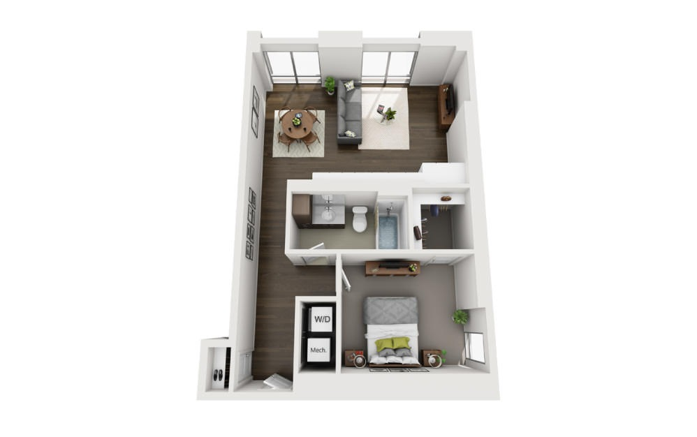 1x1 G - 1 bedroom floorplan layout with 1 bath and 770 square feet.