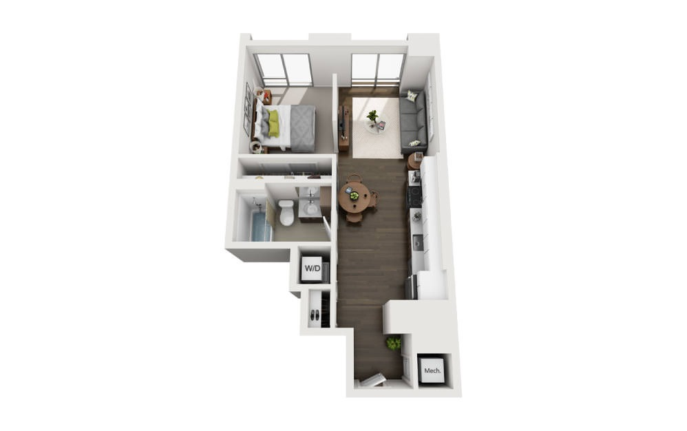 1x1 JR A - 1 bedroom floorplan layout with 1 bath and 575 square feet.